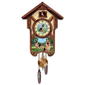 German Shepherd Cuckoo Clock with Barking Dog
