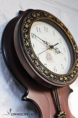 New World Voyage Simulated Wood Pendulum Wall Clock Quartz ABS