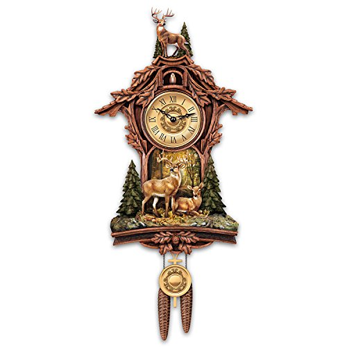 Sculpted Deer Cuckoo Clock With Sculpted 10 Point Buck At