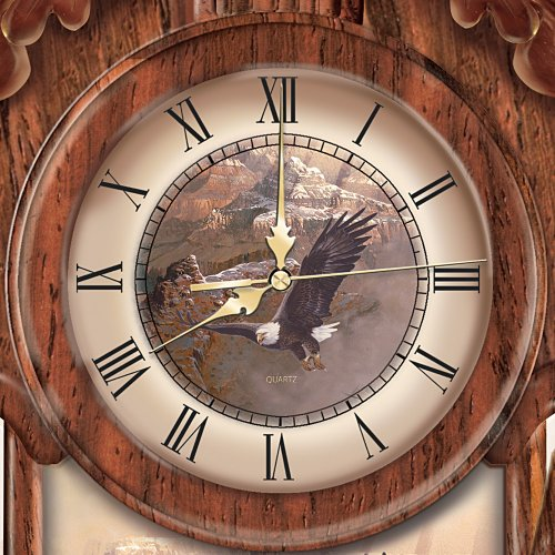 timeless majesty collectible cuckoo clock with bald eagle art by the