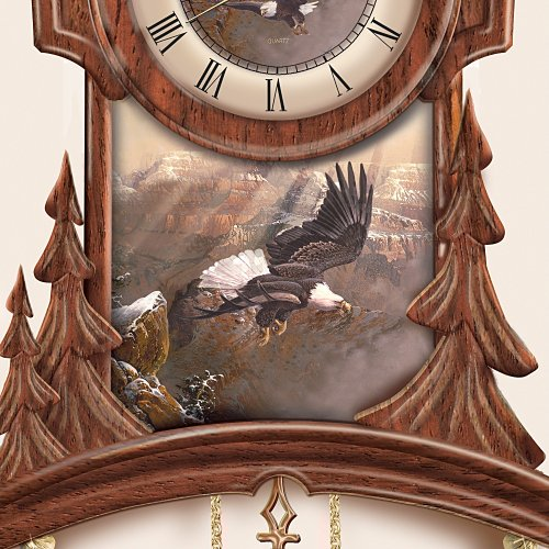 Timeless Majesty Collectible Cuckoo Clock With Bald Eagle