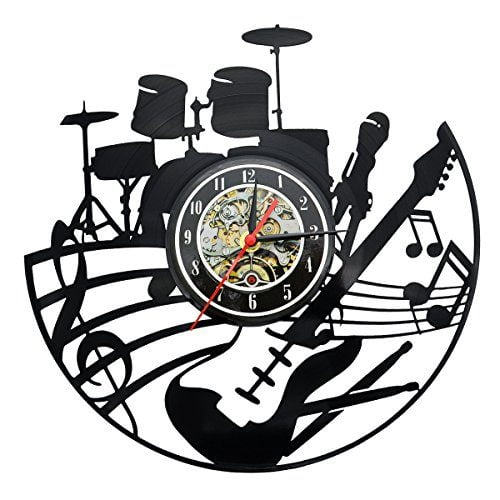 Guitar Music Instrument Vinyl Record Design Modern Clock for Living Room or  Bedroom Art Home Decor (Style1)