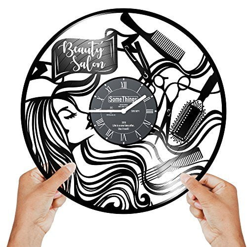 Hairdresser Clock Hairdresser Gifts For Woman Hair Salon Wall Clock Beauty Salon Wall Clock Hair Stylist Gifts For Women Hair Salon Wall Decor Vinyl Clock Recycled Vinyl