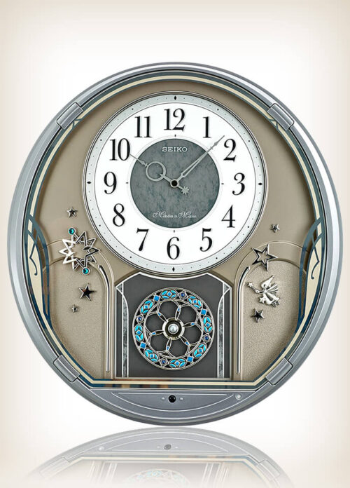 Seiko QXM375SRH Silver Case Melody in Motion Clock