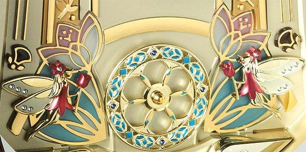 Seiko QXM275BRH rotating pendulum with 4 Swarovski Crystals
