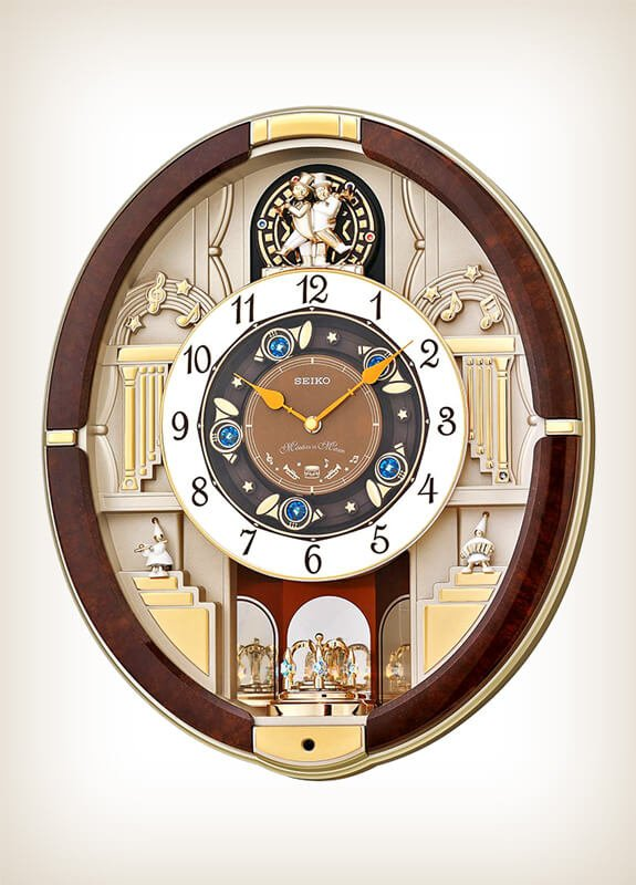 Seiko Qxm289b Golden Trumpets Melody In Motion Wall Of