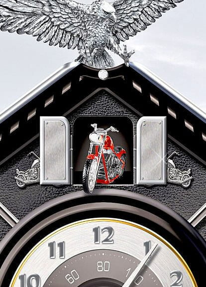 Motorcycle-Themed Time Of Freedom Cuckoo Clock