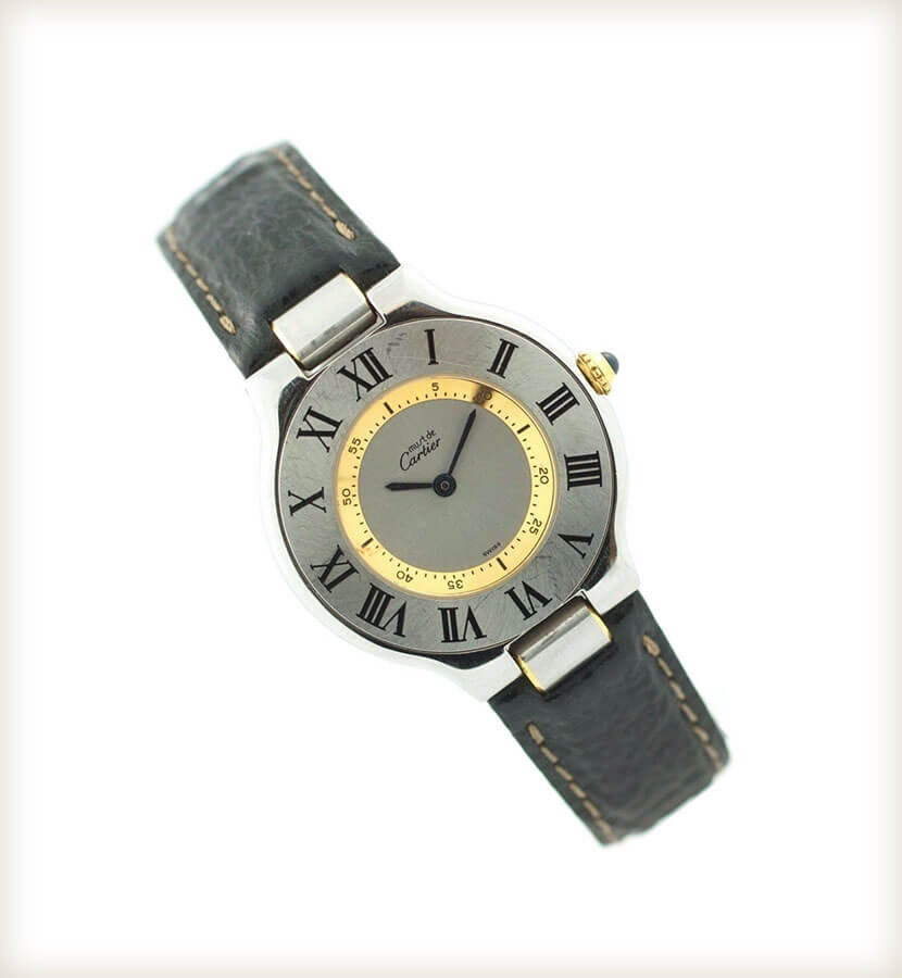 Must de Cartier 21 1330 18K Gold Black Leather