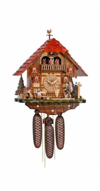 Hekas KA 3742/8 EX Cuckoo clock with moving clock peddler and dancers
