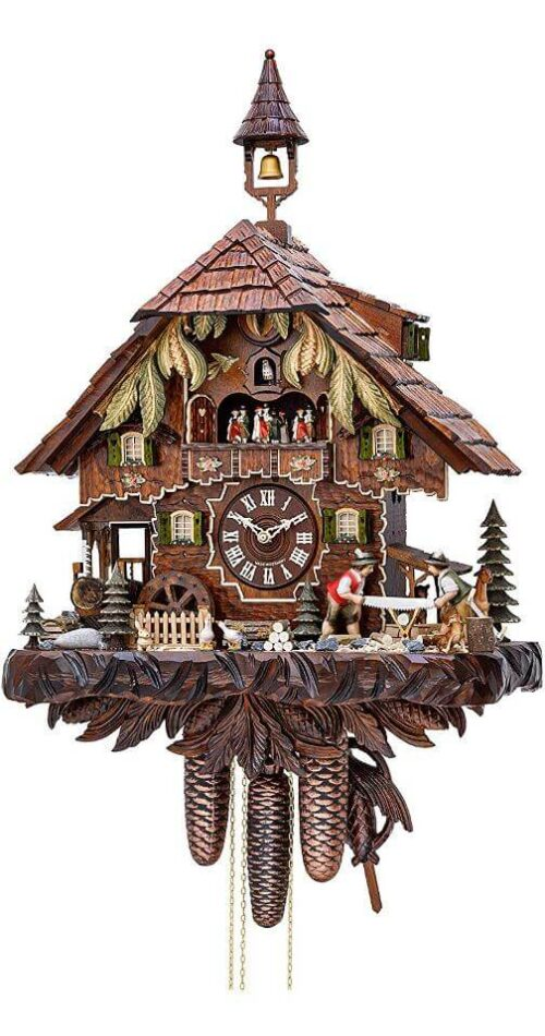 Hekas KA 3751/8 EX Cuckoo Clock with Moving wood sawers and mill wheel