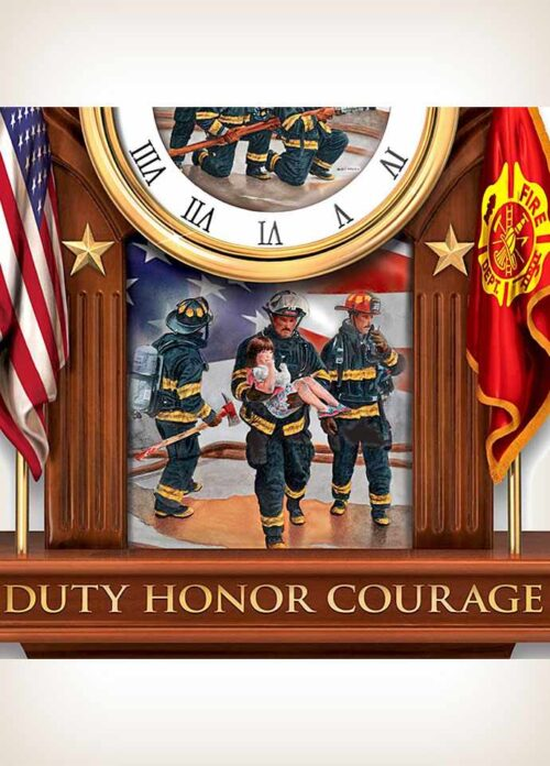 Commitment To Courage Firefighter Cuckoo Clock
